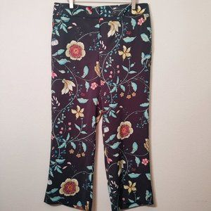 LOFT Floral High Rise Dress Ankle Pants 10